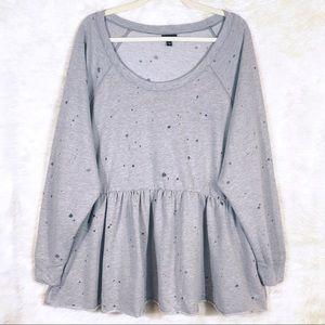 Torrid Grey Destructed Babydoll Sweatshirt size 3